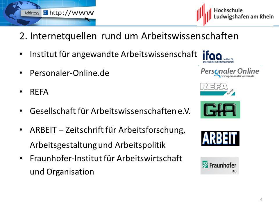 2. Internetquellen rund um Arbeitswissenschaften Institut für angewandte Arbeitswissenschaft Personaler-Online.de REFA Gesellschaft für Arbeitswissens