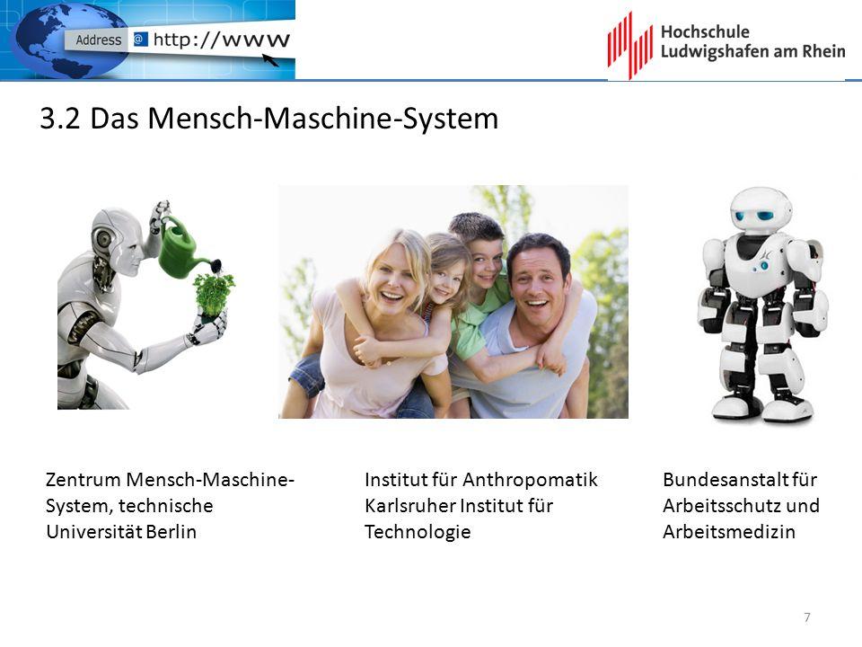 3.2 Das Mensch-Maschine-System Zentrum Mensch-Maschine- System, technische Universität Berlin Bundesanstalt für Arbeitsschutz und Arbeitsmedizin Insti