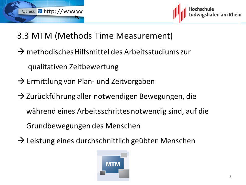 3.3 MTM (Methods Time Measurement)  methodisches Hilfsmittel des Arbeitsstudiums zur qualitativen Zeitbewertung  Ermittlung von Plan- und Zeitvorgab