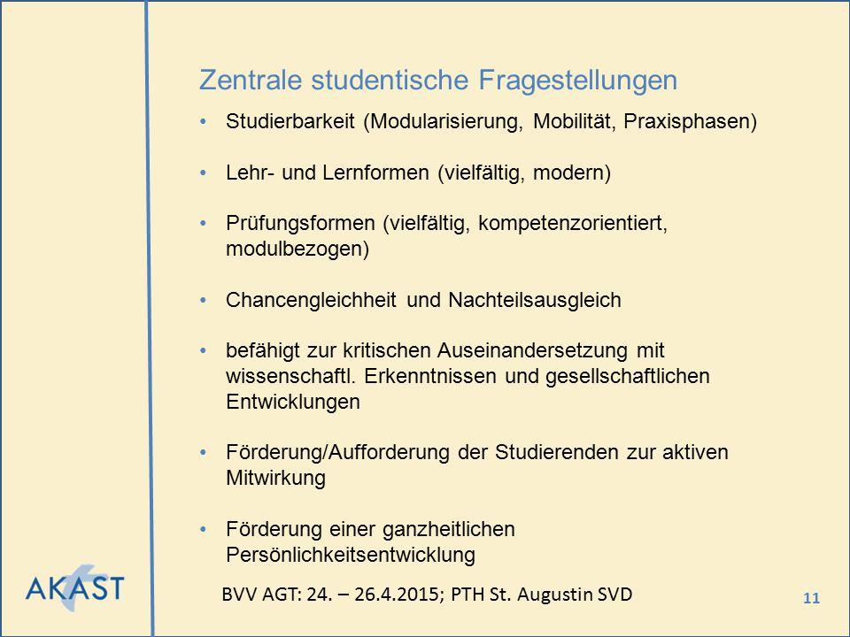 11 Zentrale studentische Fragestellungen Studierbarkeit (Modularisierung, Mobilität, Praxisphasen) Lehr- und Lernformen (vielfältig, modern) Prüfungsf