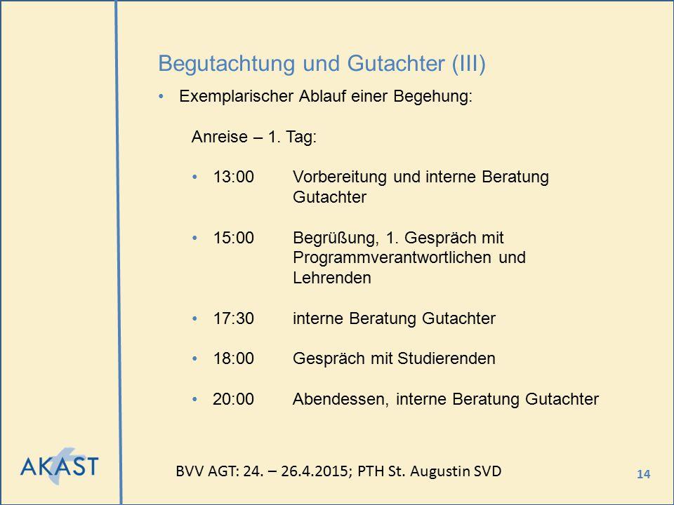 14 Begutachtung und Gutachter (III) Exemplarischer Ablauf einer Begehung: Anreise – 1. Tag: 13:00Vorbereitung und interne Beratung Gutachter 15:00Begr