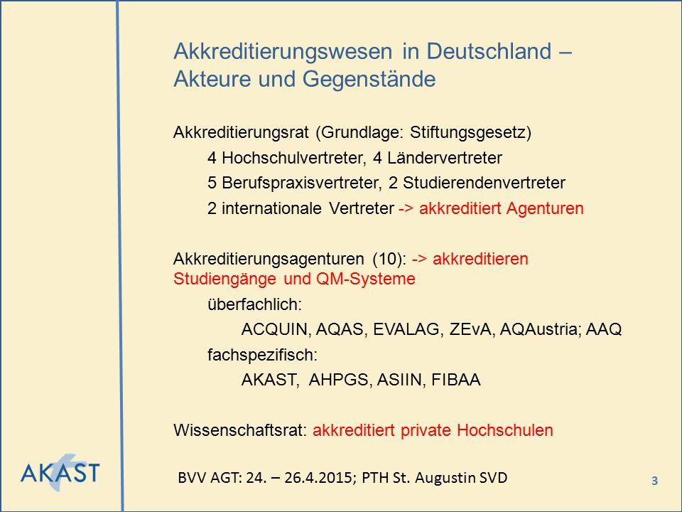 3 Akkreditierungswesen in Deutschland – Akteure und Gegenstände Akkreditierungsrat (Grundlage: Stiftungsgesetz) 4 Hochschulvertreter, 4 Ländervertrete