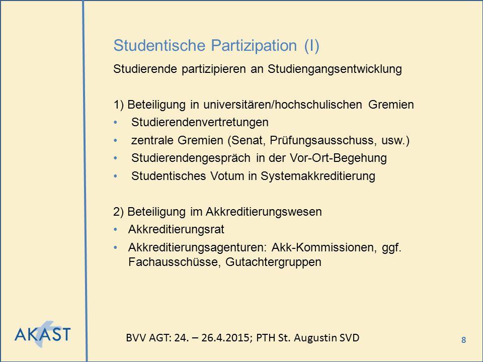 8 Studentische Partizipation (I) Studierende partizipieren an Studiengangsentwicklung 1) Beteiligung in universitären/hochschulischen Gremien Studiere