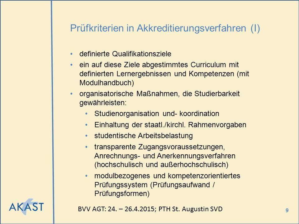 9 Prüfkriterien in Akkreditierungsverfahren (I) definierte Qualifikationsziele ein auf diese Ziele abgestimmtes Curriculum mit definierten Lernergebni
