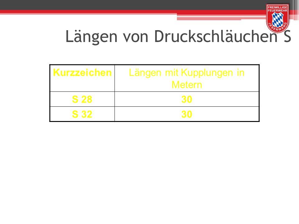 Längen von Druckschläuchen S KurzzeichenLängen mit Kupplungen in Metern S 2830 S 3230