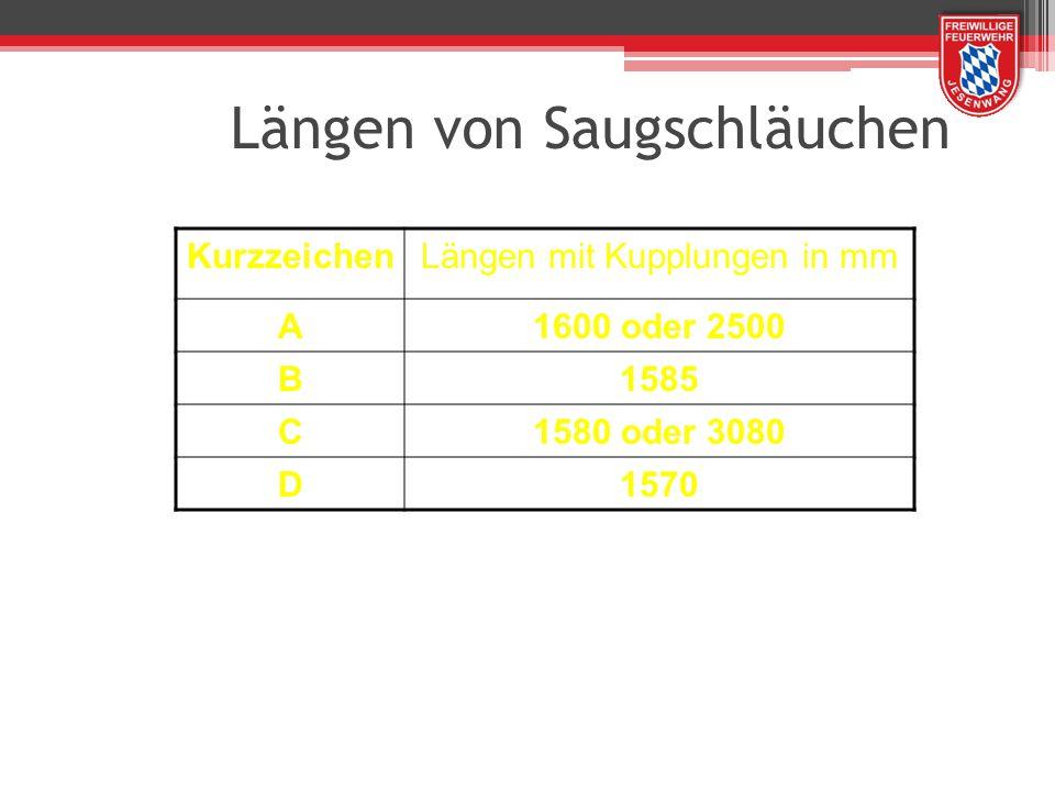 Längen von Saugschläuchen KurzzeichenLängen mit Kupplungen in mm A1600 oder 2500 B1585 C1580 oder 3080 D1570