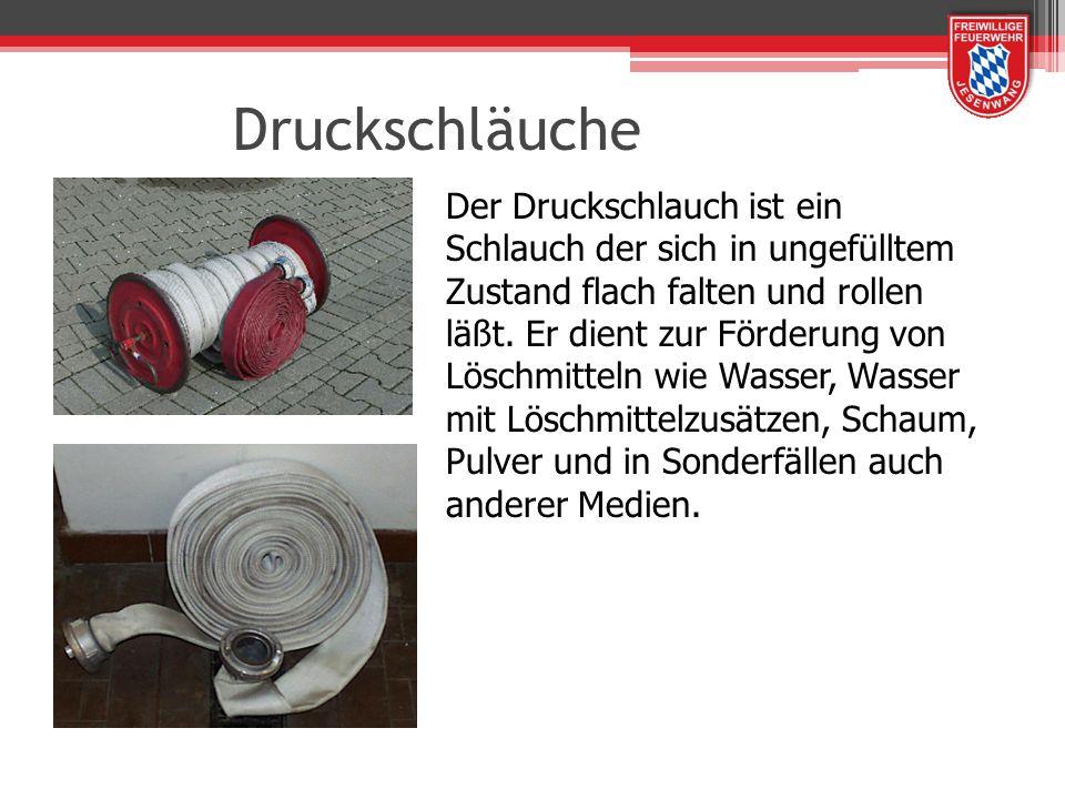 Druckschläuche Der Druckschlauch ist ein Schlauch der sich in ungefülltem Zustand flach falten und rollen läßt. Er dient zur Förderung von Löschmittel