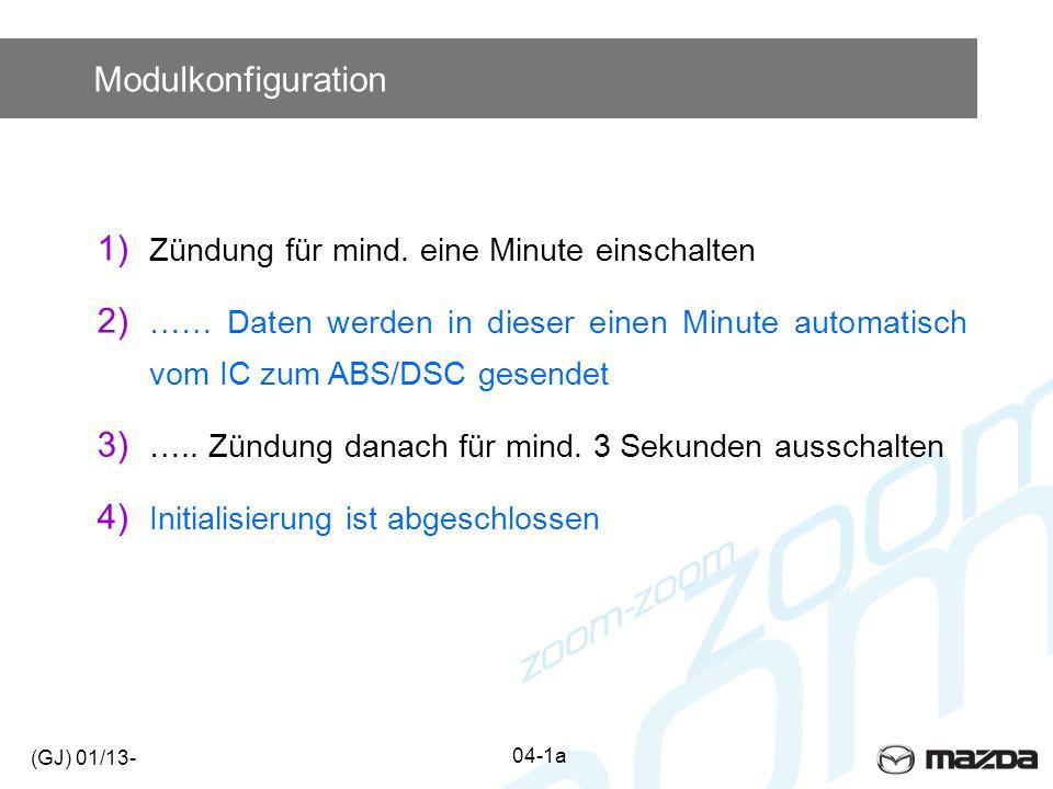 Modulkonfiguration 1) Zündung für mind. eine Minute einschalten 2) …… Daten werden in dieser einen Minute automatisch vom IC zum ABS/DSC gesendet 3) …