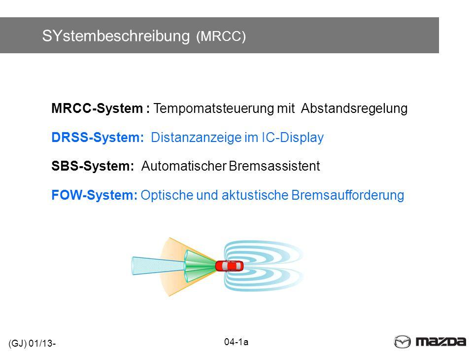 SYstembeschreibung (MRCC) 04-1a (GJ) 01/13- MRCC-System : Tempomatsteuerung mit Abstandsregelung DRSS-System: Distanzanzeige im IC-Display SBS-System: