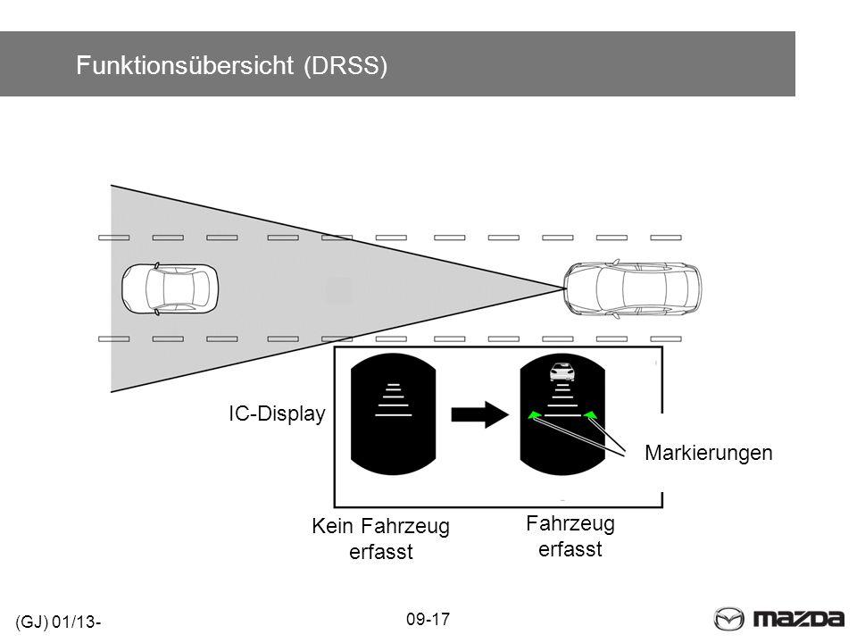 Funktionsübersicht (DRSS) 09-17 (GJ) 01/13- IC-Display Markierungen Kein Fahrzeug erfasst Fahrzeug erfasst