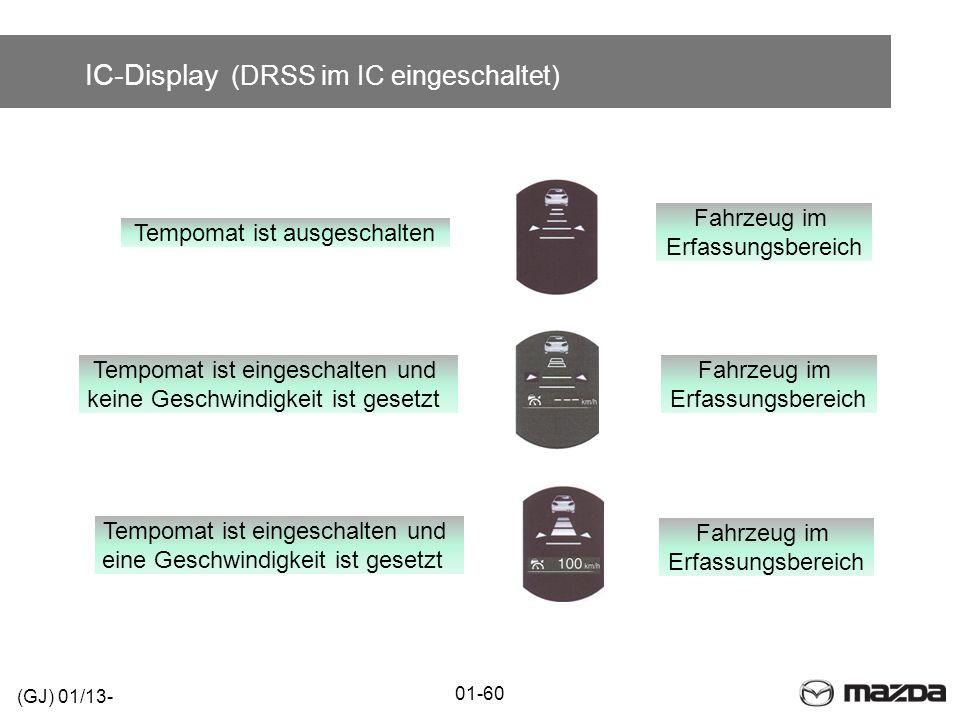 IC-Display (DRSS im IC eingeschaltet) 01-60 (GJ) 01/13- Tempomat ist ausgeschalten Fahrzeug im Erfassungsbereich Fahrzeug im Erfassungsbereich Tempoma