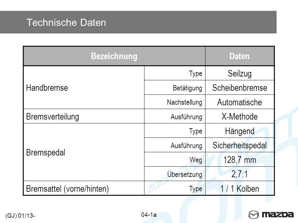 Technische Daten 04-1a (GJ) 01/13- BezeichnungDaten Handbremse Type Seilzug Betätigung Scheibenbremse Nachstellung Automatische Bremsverteilung Ausfüh