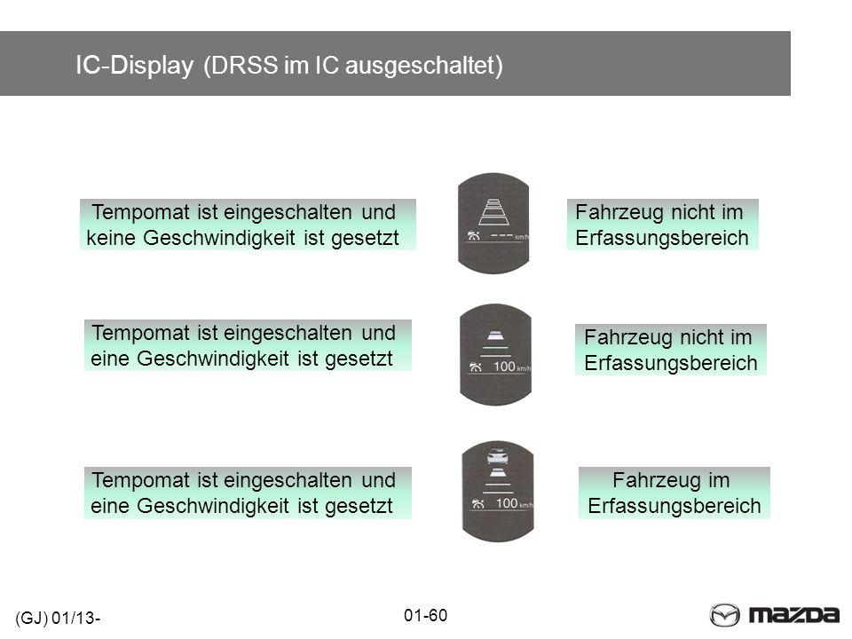 IC-Display (DRSS im IC ausgeschaltet ) 01-60 (GJ) 01/13- Tempomat ist eingeschalten und eine Geschwindigkeit ist gesetzt Tempomat ist eingeschalten un