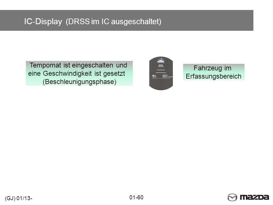 IC-Display (DRSS im IC ausgeschaltet) 01-60 (GJ) 01/13- Tempomat ist eingeschalten und eine Geschwindigkeit ist gesetzt (Beschleunigungsphase) Fahrzeu