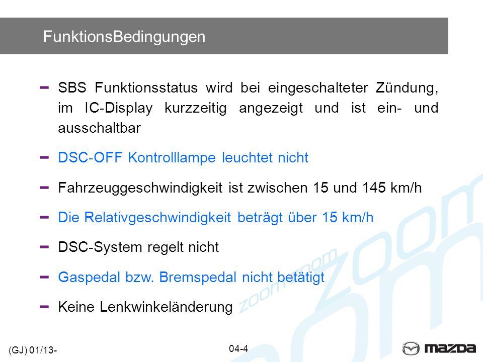 FunktionsBedingungen SBS Funktionsstatus wird bei eingeschalteter Zündung, im IC-Display kurzzeitig angezeigt und ist ein- und ausschaltbar DSC-OFF Ko