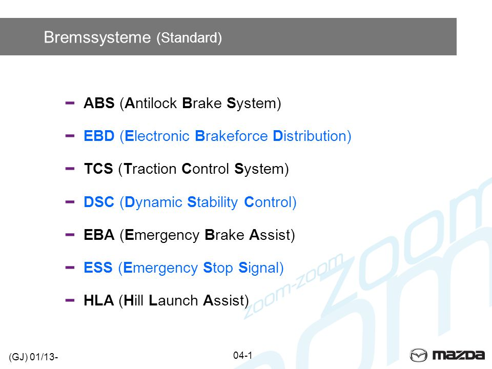 Bremssysteme (Standard) ABS (Antilock Brake System) EBD (Electronic Brakeforce Distribution) TCS (Traction Control System) DSC (Dynamic Stability Cont