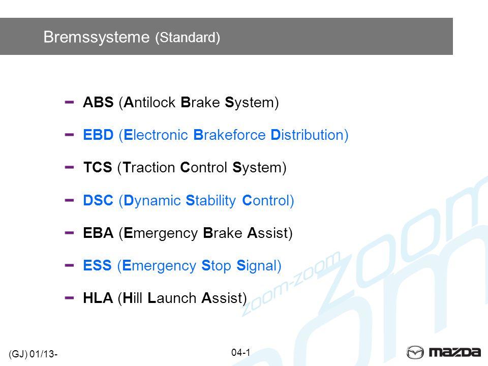 Systemsteuerung (ABS/DSC) PCM 04-1a (GJ) 01/13- RBCM Bremslichtschalter Raddrehzahl- sensoren SAS-Modul Batterie ABS/DSC Bremslicht Bremsleuchteneinheit Bremslicht Mit MRCC Ohne MRCC