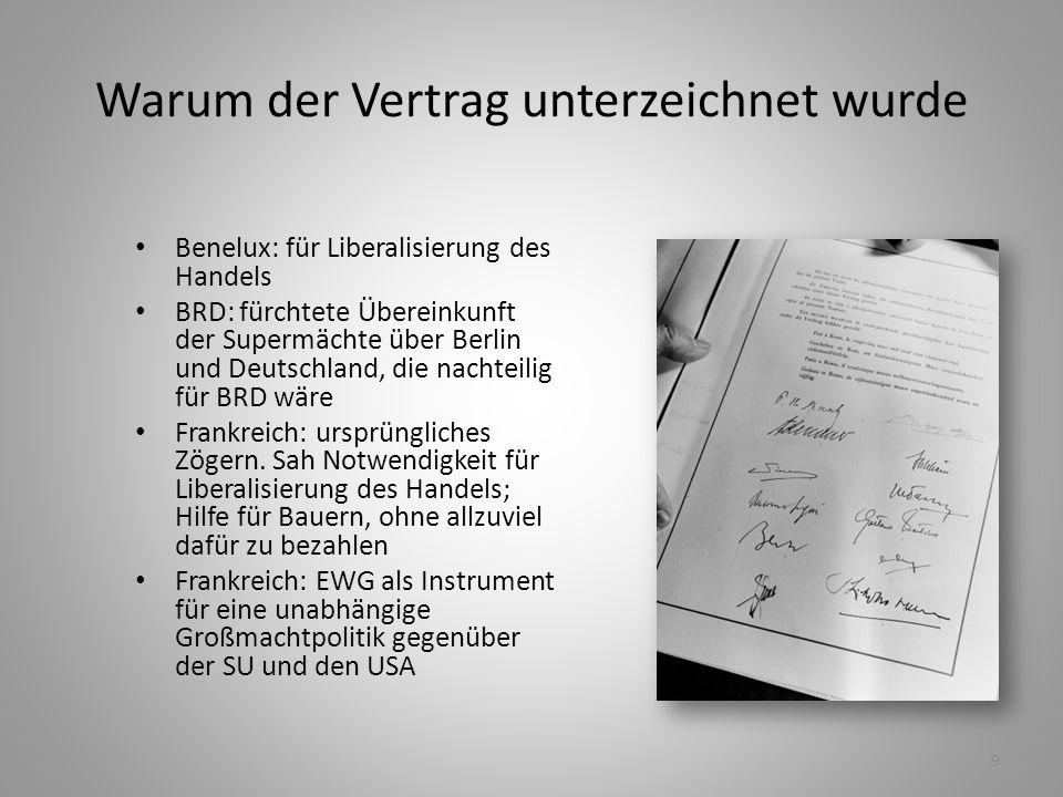 9 Warum der Vertrag unterzeichnet wurde Benelux: für Liberalisierung des Handels BRD: fürchtete Übereinkunft der Supermächte über Berlin und Deutschla