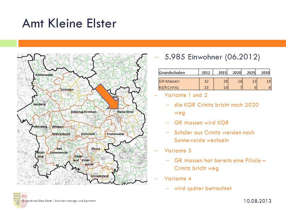 Amt Kleine Elster  5.985 Einwohner (06.2012)  Variante 1 und 2  die KGR Crinitz bricht nach 2020 weg  GR Massen wird KGR  Schüler aus Crinitz wer