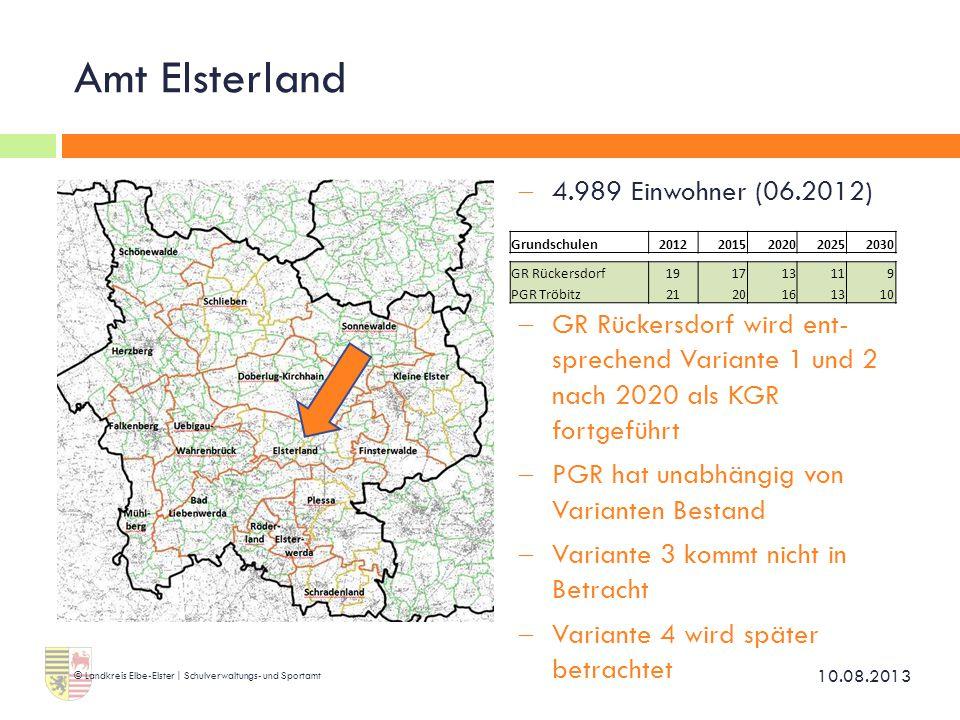 Amt Elsterland  4.989 Einwohner (06.2012)  GR Rückersdorf wird ent- sprechend Variante 1 und 2 nach 2020 als KGR fortgeführt  PGR hat unabhängig vo