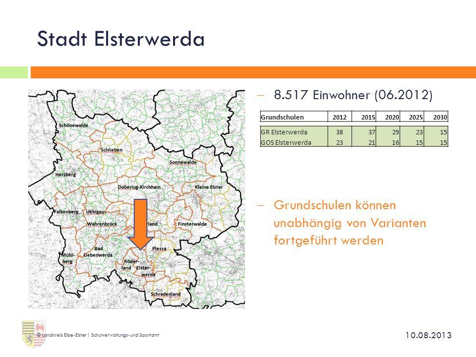 Stadt Elsterwerda  8.517 Einwohner (06.2012)  Grundschulen können unabhängig von Varianten fortgeführt werden 10.08.2013 © Landkreis Elbe-Elster | S