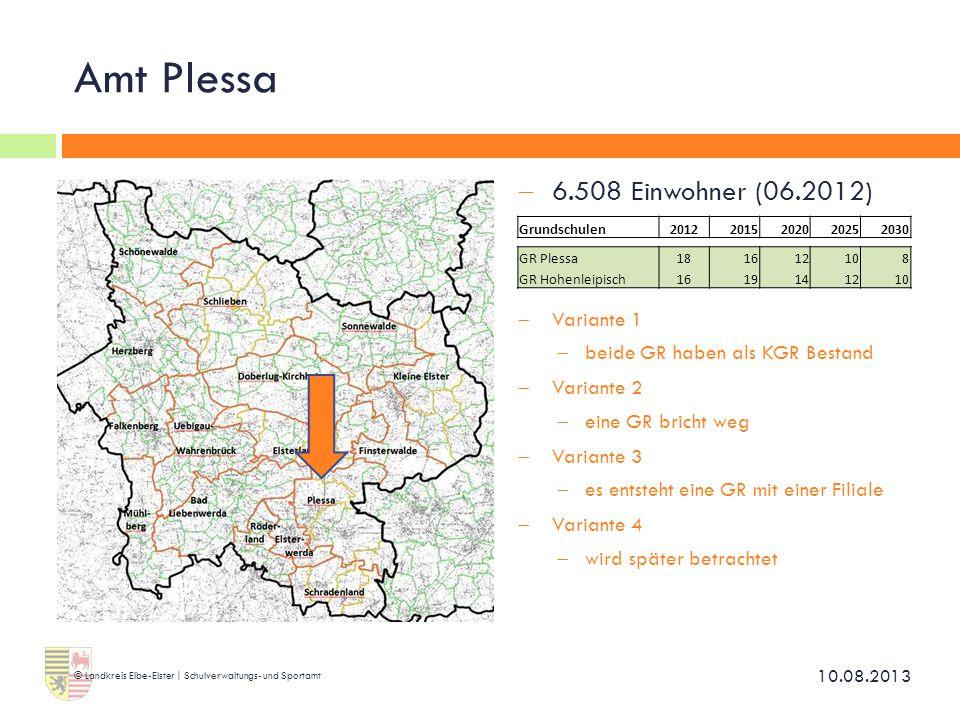 Amt Plessa  6.508 Einwohner (06.2012)  Variante 1  beide GR haben als KGR Bestand  Variante 2  eine GR bricht weg  Variante 3  es entsteht eine