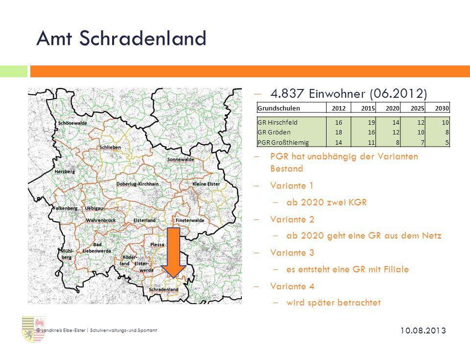 Amt Schradenland  4.837 Einwohner (06.2012)  PGR hat unabhängig der Varianten Bestand  Variante 1  ab 2020 zwei KGR  Variante 2  ab 2020 geht ei