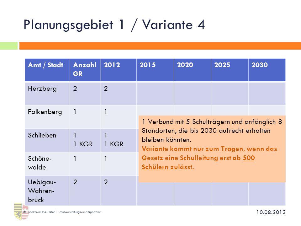 Planungsgebiet 1 / Variante 4 10.08.2013 © Landkreis Elbe-Elster | Schulverwaltungs- und Sportamt Amt / StadtAnzahl GR 20122015202020252030 Herzberg22