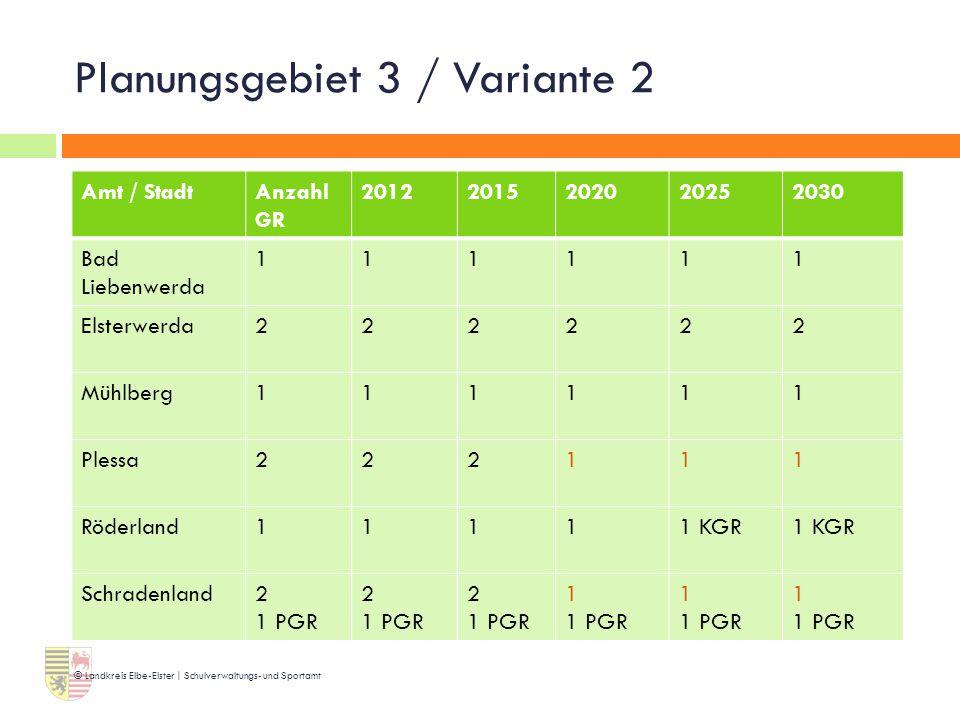Planungsgebiet 3 / Variante 2 © Landkreis Elbe-Elster | Schulverwaltungs- und Sportamt Amt / StadtAnzahl GR 20122015202020252030 Bad Liebenwerda 11111