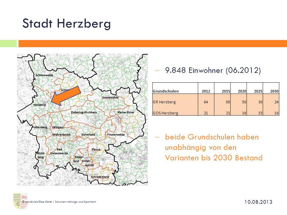 Stadt Herzberg  9.848 Einwohner (06.2012)  beide Grundschulen haben unabhängig von den Varianten bis 2030 Bestand 10.08.2013 © Landkreis Elbe-Elster