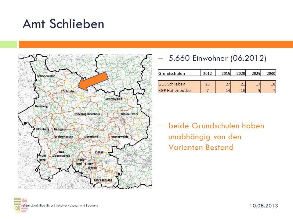 Amt Schlieben  5.660 Einwohner (06.2012)  beide Grundschulen haben unabhängig von den Varianten Bestand 10.08.2013 © Landkreis Elbe-Elster | Schulve