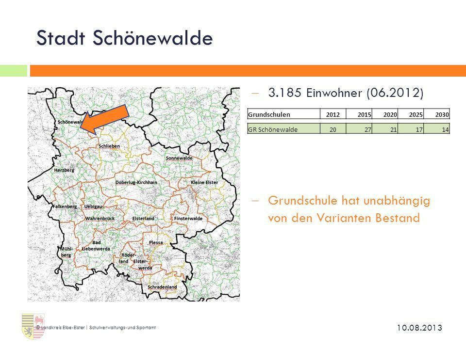 Stadt Schönewalde  3.185 Einwohner (06.2012)  Grundschule hat unabhängig von den Varianten Bestand 10.08.2013 © Landkreis Elbe-Elster | Schulverwalt