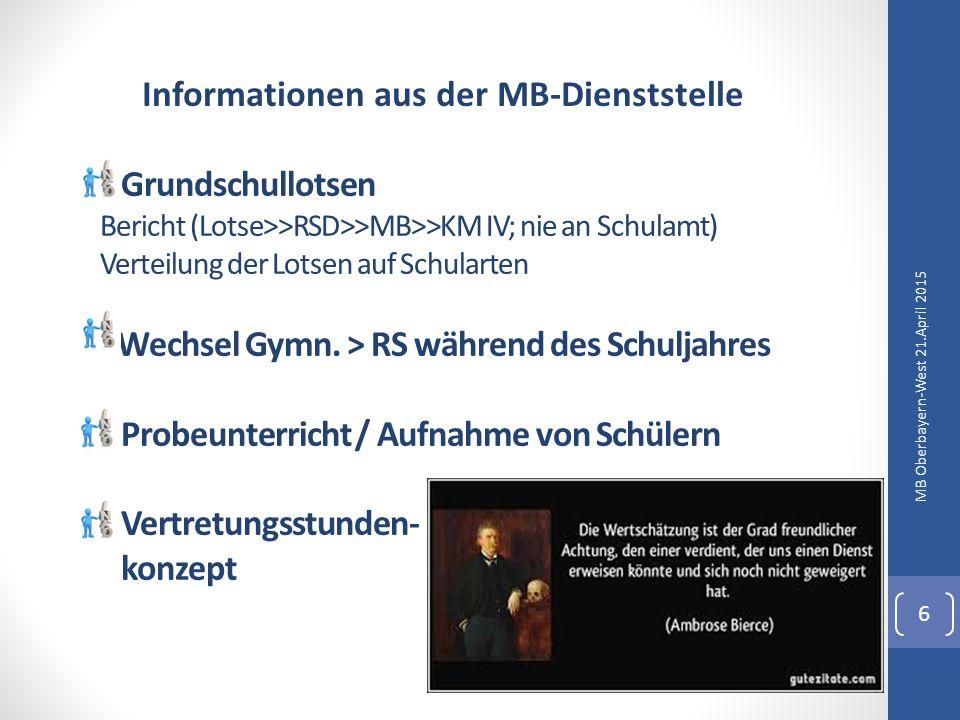 Informationen aus der MB-Dienststelle MB Oberbayern-West 21.April 2015 7 Schulbaufinanzierung MB-Topf für EBSU/DSU-Verträge / SchiLF-Gelder Kooperation mit dem PI München - Rahmenbedingungen - Schulleiterfortbildungen - Weiteres Seminarschulen: Rückbaukonzept