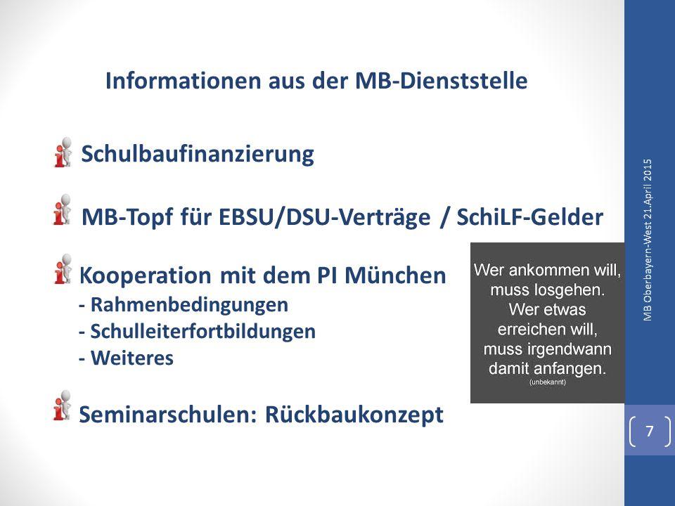 Informationen aus der MB-Dienststelle Schüleraustausch: hier Einzelaustausch siehe: KmBeK vom 26.01.2010 Videoüberwachung siehe KMS vom 08.12.2014 Besuch von Gerichten Fortbildungen: hier Referentenhonorare MB Oberbayern-West 21.April 2015 8
