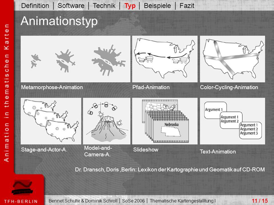 Bennet Schulte & Dominik Schroll │ SoSe 2006 │ Thematische Kartengestalltung I 11 / 15 Animationstyp Definition │ Software │ Technik │ Typ │ Beispiele │ Fazit Dr.