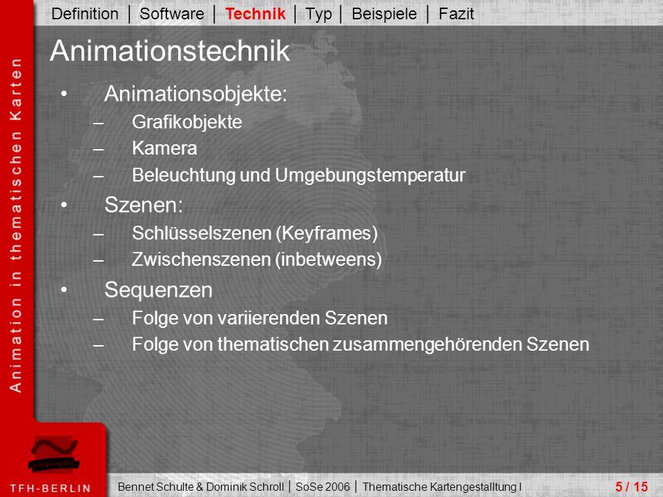 Bennet Schulte & Dominik Schroll │ SoSe 2006 │ Thematische Kartengestalltung I Animationsobjekte: –Grafikobjekte –Kamera –Beleuchtung und Umgebungstemperatur Szenen: –Schlüsselszenen (Keyframes) –Zwischenszenen (inbetweens) Sequenzen –Folge von variierenden Szenen –Folge von thematischen zusammengehörenden Szenen 5 / 15 Animationstechnik Definition │ Software │ Technik │ Typ │ Beispiele │ Fazit