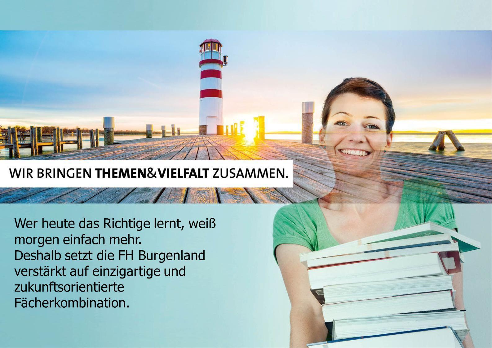 Zwei Standorte:  Eisenstadt  Pinkafeld  8 Bachelorstudiengänge  12 Masterstudiengänge  1.700 Studierende  760 StudienanfängerInnen  70% berufsbegleitendes Studium  4.400 AbsolventInnen  99 % Beschäftigungsquote  120 MitarbeiterInnen  300 LektorInnen  400 Wirtschaftspartner