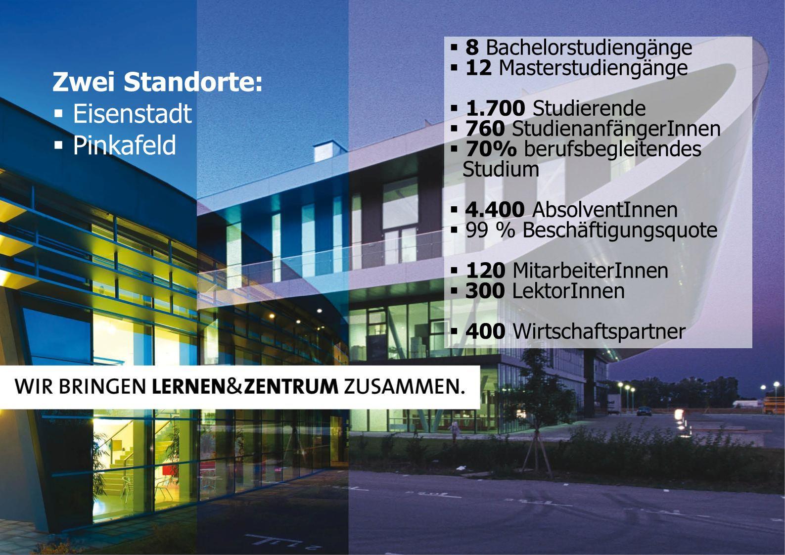 Zwei Standorte:  Eisenstadt  Pinkafeld  8 Bachelorstudiengänge  12 Masterstudiengänge  1.700 Studierende  760 StudienanfängerInnen  70% berufsb