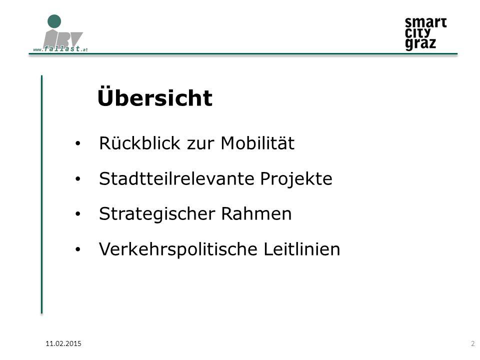 Übersicht 11.02.2015 Rückblick zur Mobilität Stadtteilrelevante Projekte Strategischer Rahmen Verkehrspolitische Leitlinien 2