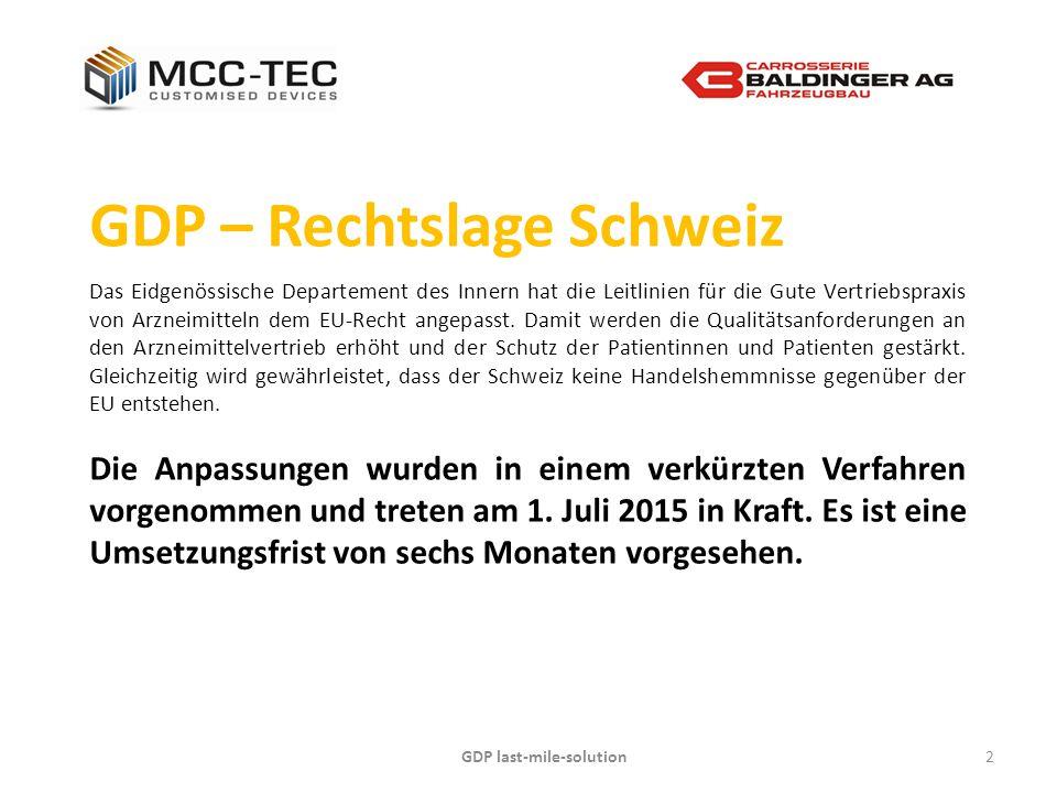 GDP last-mile-solution2 GDP – Rechtslage Schweiz Das Eidgenössische Departement des Innern hat die Leitlinien für die Gute Vertriebspraxis von Arzneim