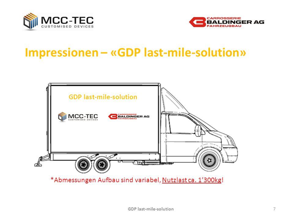 GDP last-mile-solution7 Impressionen – «GDP last-mile-solution» GDP last-mile-solution *Abmessungen Aufbau sind variabel, Nutzlast ca. 1'300kg!