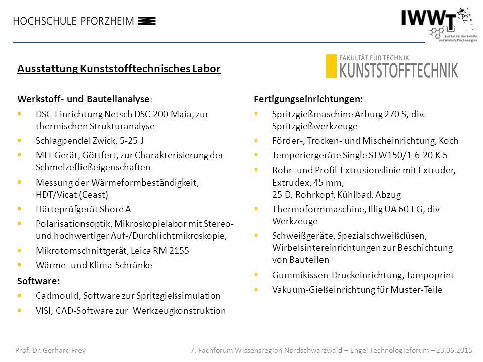 Werkstoff- und Bauteilanalyse :  DSC-Einrichtung Netsch DSC 200 Maia, zur thermischen Strukturanalyse  Schlagpendel Zwick, 5-25 J  MFI-Gerät, Göttf