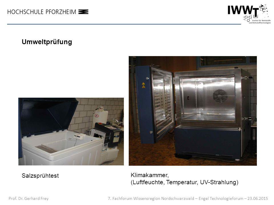 Prof. Dr. Gerhard Frey Klimakammer, (Luftfeuchte, Temperatur, UV-Strahlung) Salzsprühtest Umweltprüfung