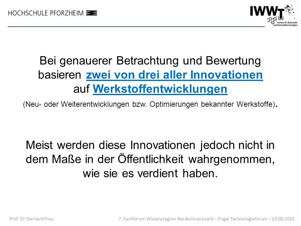 Bei genauerer Betrachtung und Bewertung basieren zwei von drei aller Innovationen auf Werkstoffentwicklungen (Neu- oder Weiterentwicklungen bzw. Optim