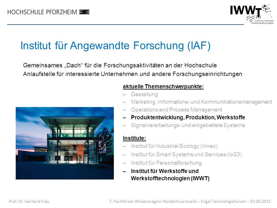 Institut für Angewandte Forschung (IAF) aktuelle Themenschwerpunkte: –Gestaltung –Marketing, Informations- und Kommunikationsmanagement –Operations an