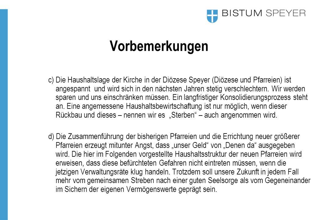 Vorbemerkungen c) Die Haushaltslage der Kirche in der Diözese Speyer (Diözese und Pfarreien) ist angespannt und wird sich in den nächsten Jahren stetig verschlechtern.