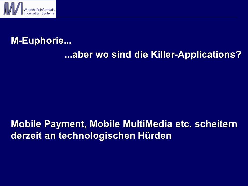 M-Euphorie......aber wo sind die Killer-Applications? Mobile Payment, Mobile MultiMedia etc. scheitern derzeit an technologischen Hürden