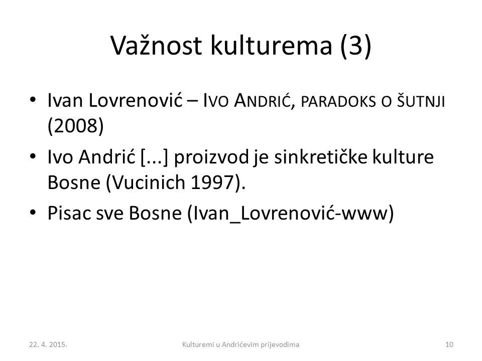 Važnost kulturema (3) Ivan Lovrenović – I VO A NDRIĆ, PARADOKS O ŠUTNJI (2008) Ivo Andrić [...] proizvod je sinkretičke kulture Bosne (Vucinich 1997).