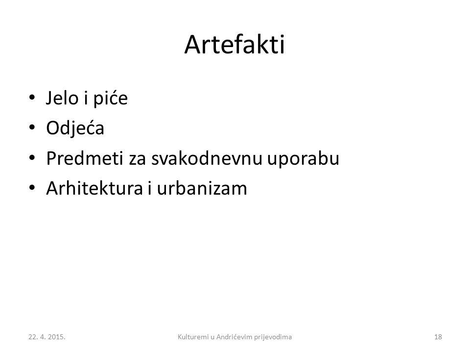 Artefakti Jelo i piće Odjeća Predmeti za svakodnevnu uporabu Arhitektura i urbanizam 22.