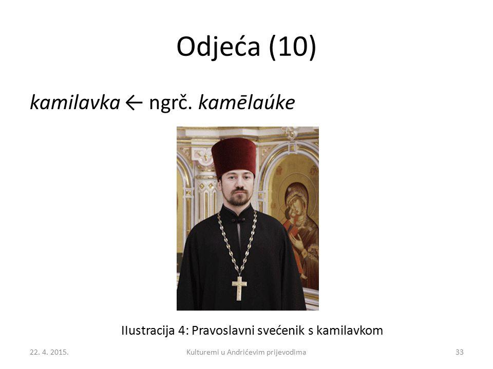 Odjeća (10) kamilavka ← ngrč. kamēlaúke IIustracija 4: Pravoslavni svećenik s kamilavkom 22. 4. 2015.33Kulturemi u Andrićevim prijevodima
